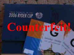 Counterfeit Ryder Cup Tickets
